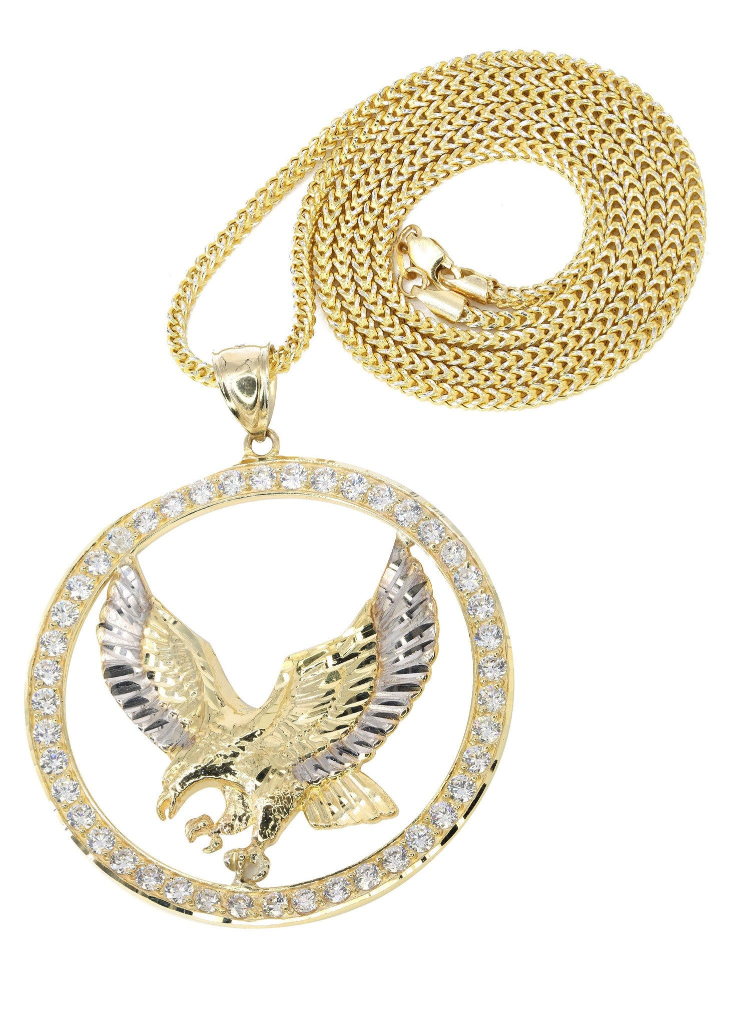 10K Yellow Gold Franco Chain & Cz Eagle Pendant / Appx. 19 Grams