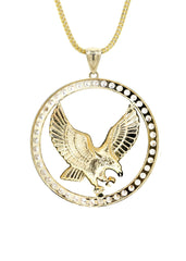 10K Yellow Gold Franco Chain & Cz Eagle Pendant | Appx. 19 Grams