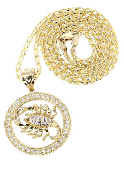 10K Yellow Gold Fancy Link Chain & Cz Scorpio Pendnat | Appx. 14.5 Grams