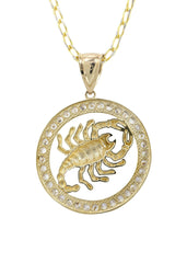 10K Yellow Gold Fancy Link Chain & Cz Scorpio Pendnat | Appx. 14.5 Grams chain & pendant FROST NYC