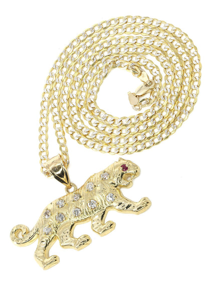 10K Yellow Gold Pave Cuban & Cz Tiger Pendant | Appx. 10.3 Grams
