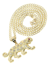 10K Yellow Gold Pave Cuban & Cz Tiger Pendant | Appx. 10.3 Grams chain & pendant FROST NYC