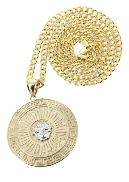 10K Yellow Gold Cuban Chain & Versace Style Pendant | Appx. 28.6 Grams