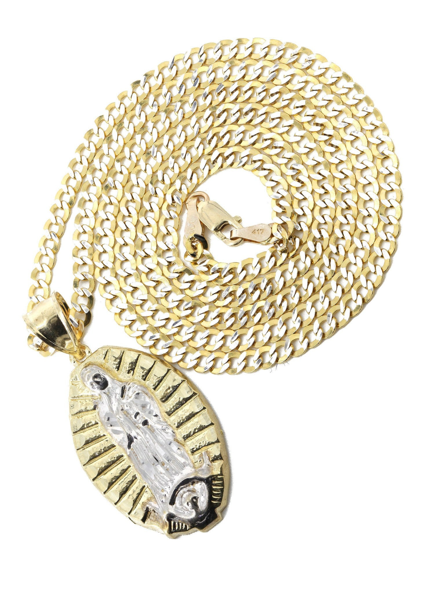 10K Yellow Gold Pave Cuban & Jesus Piece Chain / Appx. 9 Grams