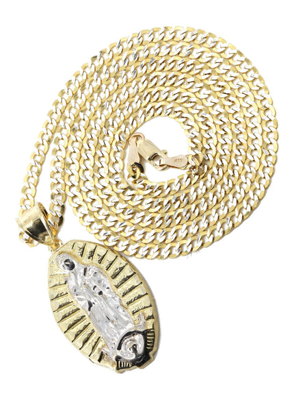 10K Yellow Gold Pave Cuban & Jesus Piece Chain | Appx. 9 Grams