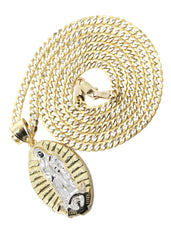 10K Yellow Gold Pave Cuban & Jesus Piece Chain | Appx. 9 Grams chain & pendant FROST NYC