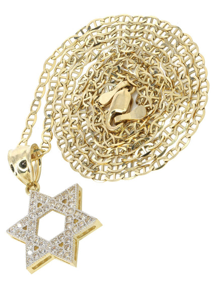 10K Yellow Gold Mariner Chain & Cz Star Pendant | Appx. 3.6 Grams