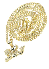 10K Yellow Gold Cuban Chain & Cupid Pendant | Appx. 4.5 Grams