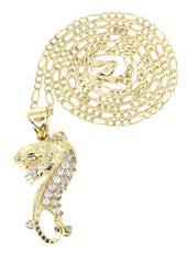 10K Yellow Gold Figaro Chain & Cz Tiger Pendant | Appx. 12 Grams