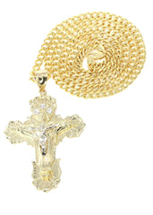 10K Yellow Gold Cuban Chain & Cz Gold Cross Necklace | Appx. 24.6 Grams chain & pendant FROST NYC