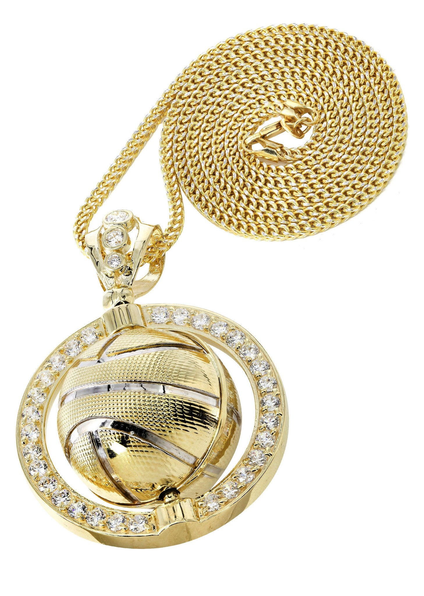 10K Yellow Gold Franco Chain & Cz Basketball Pendant / Appx. 32.3 Grams