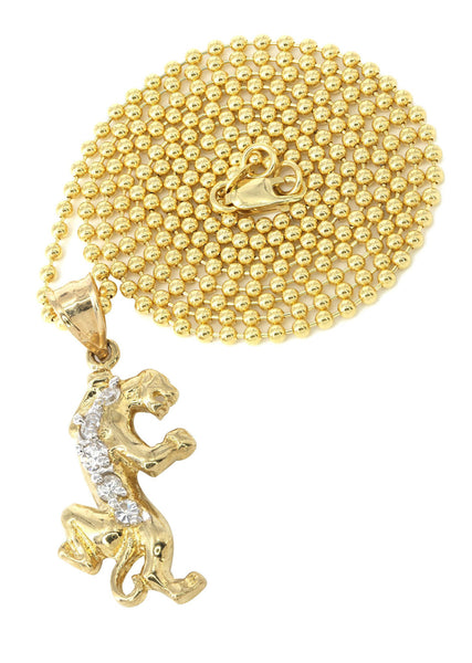 10K Yellow Gold Dog Tag Chain & Cz Tiger Pendant | Appx. 9 Grams