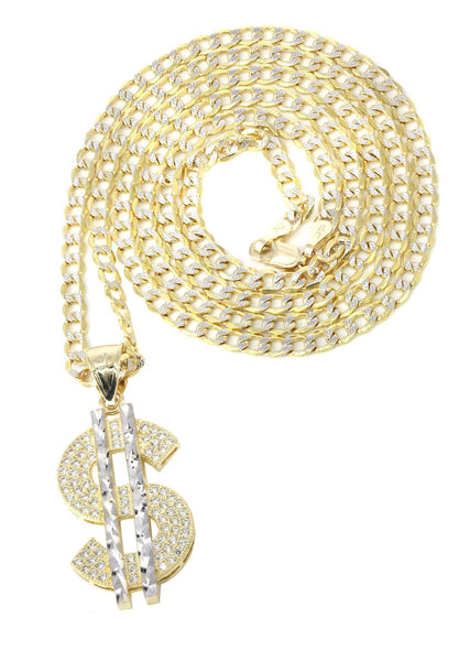 10K Yellow Gold Pave Cuban & Cz Dollar Pedant | Appx. 8.7 Grams