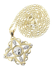 10K Yellow Gold Figaro Chain & Versace Style Pendant | Appx. 11.5 Grams chain & pendant FROST NYC