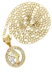 10K Yellow Gold Figaro Chain & Cz Pharoah Pendant | Appx. 10.2 Grams chain & pendant FROST NYC