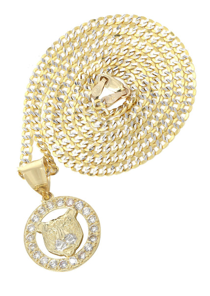 10K Yellow Gold Pave Cuban & Cz Bear Pendant | Appx. 9.4 Grams