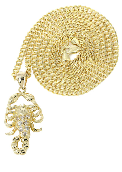 10K Yellow Gold Cuban Chain & Cz Scorpio Pendant | Appx. 17.2 Grams