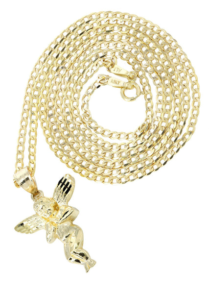 10K Yellow Gold Cuban Chain & Angel Pendant | Appx. 4.3 Grams