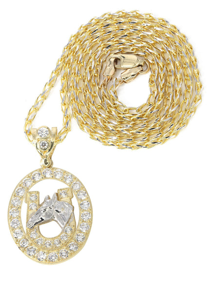 10K Yellow Gold Fancy Link Chain & Cz Horse Shoe | Appx. 12.6 Grams