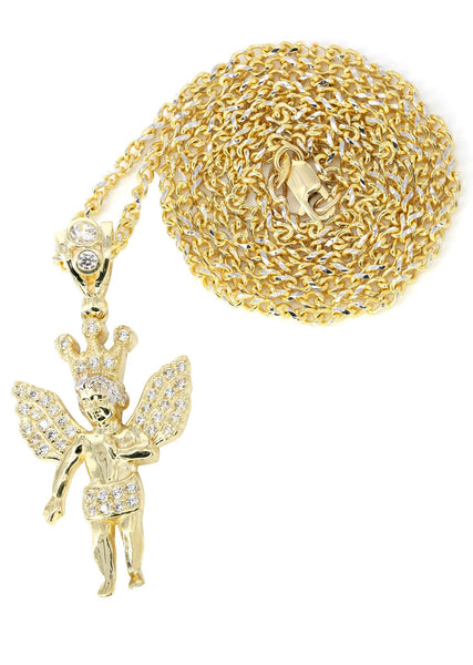 10K Yellow Gold Fancy Link Chain & Cz Angel Pendant | Appx. 10 Grams