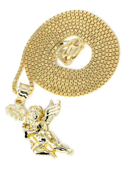 10K Yellow Gold Box Chain & Angel Pendant | Appx. 6.3 Grams