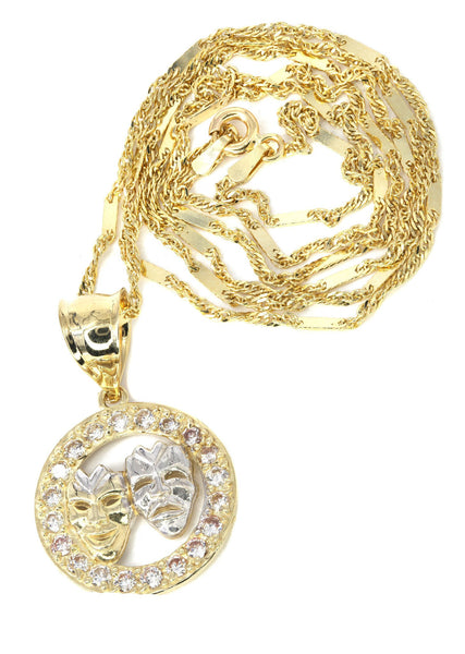 10K Yellow Gold Fancy Link Chain & Theater Pendant | Appx. 5.8 Grams