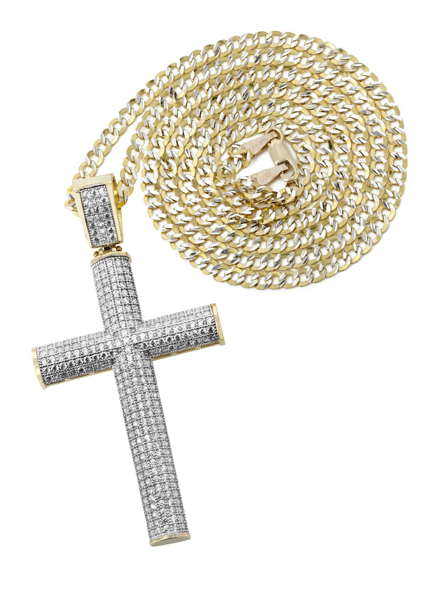 10K Yellow Gold Pave Cuban Chain & Cz Gold Cross Necklace / Appx. 13.1 Grams