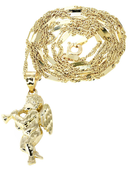10K Yellow Gold Fancy Link Chain & Angel Pendant | Appx. 4.8 Grams