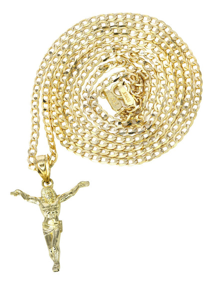 10K Yellow Gold Cuban Chain & Crusifx Pendant | Appx. 3.7 Grams