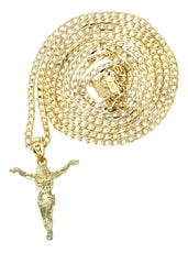 10K Yellow Gold Cuban Chain & Crusifx Pendant | Appx. 3.7 Grams chain & pendant FROST NYC