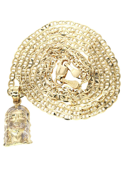 10K Yellow Gold Mariner Chain & Jesus Piece Chain | Appx. 2.8 Grams