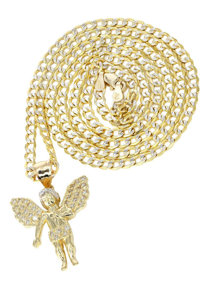 10K Yellow Gold Pave Cuban Chain & Cz Angel Pendant | Appx. 8.5 Grams