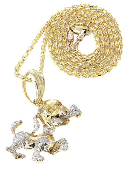 10K Yellow Gold Fancy Link Chain & Dog Pendant | Appx. 18.5 Grams