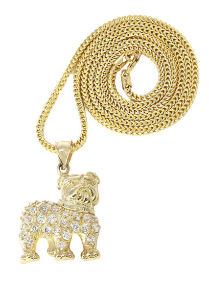 10K Yellow Gold Franco Chain & Cz Dog Pendant | Appx. 15.2 Grams