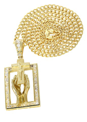 10K Yellow Gold Cuban Chain & Cz Praying Hands Pendnat | Appx. 33 Grams