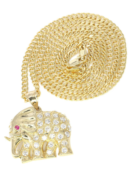 10K Yellow Gold Cuban Chain & Cz Elephant | Appx. 20.1 Grams
