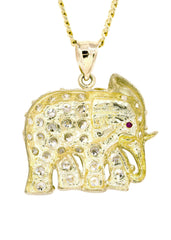 10K Yellow Gold Cuban Chain & Cz Elephant | Appx. 20.1 Grams chain & pendant FROST NYC