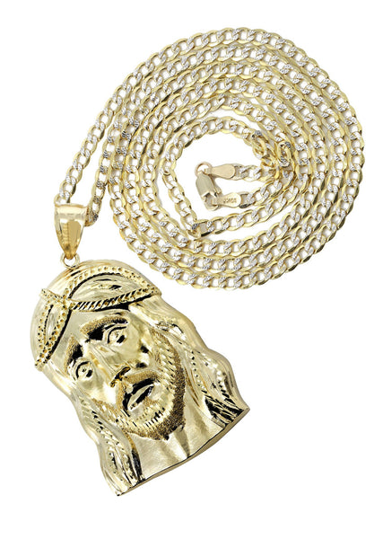 10K Yellow Gold Pave Cuban Chain & Jesus Piece Chain | Appx. 11.2 Grams