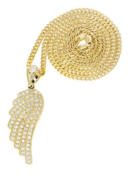 10K Yellow Gold Cuban Chain & Cz Angel Wing Pendant | Appx. 18.4 Grams