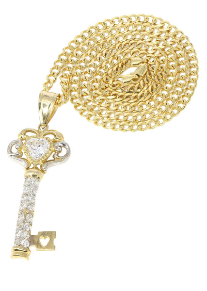 10K Yellow Gold Cuban Chain & Cz Key Pendant | Appx. 25.7 Grams