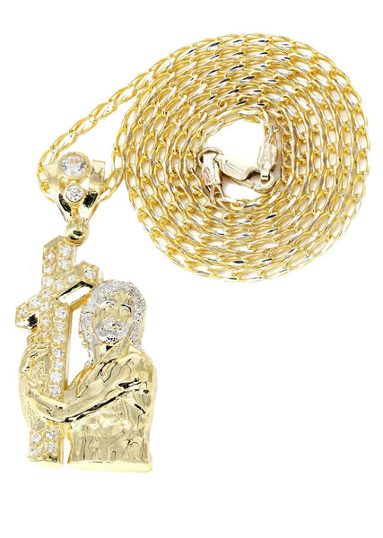 10K Yellow Gold Fancy Link Chain & Cz Jesus Piece Chain | Appx. 14.6 Grams