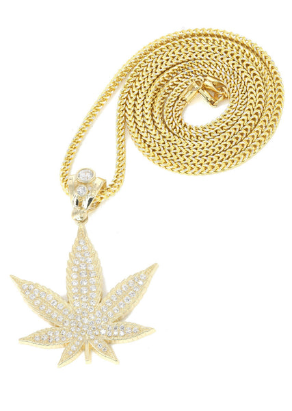 10K Yellow Gold Franco Chain & Cz Marijuana  | Appx. 14.6 Grams