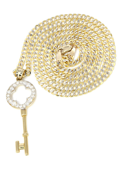 10K Yellow Gold Pave Cuban Chain & Cz Key Pendant | Appx. 8.5 Grams