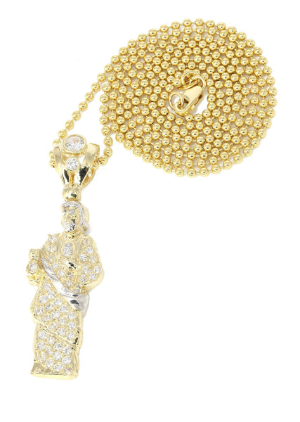 10K Yellow Gold Dog Tag Chain & Cz Jesus Piece  | Appx. 10.8 Grams
