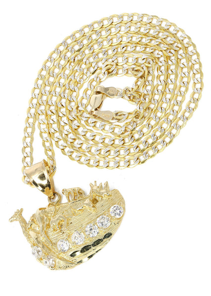10K Yellow Gold Pave Cuban Chain & Cz Rain Deer Pendant | Appx. 10.9 Grams