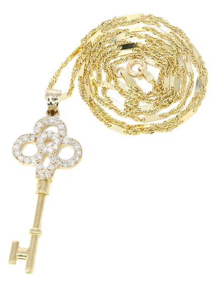 10K Yellow Gold Fancy Link Chain & Cz Key Pendant | Appx. 5.2 Grams