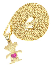 10K Yellow Gold Box Chain & Cz Children Pendant | Appx. 3.2 Grams
