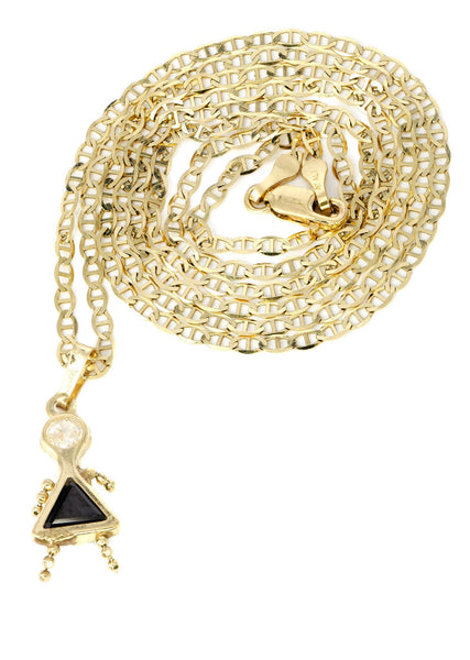 10K Yellow Gold Mariner Chain & Cz Children Pendant | Appx. 3.2 Grams