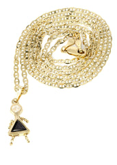 10K Yellow Gold Mariner Chain & Cz Children Pendant | Appx. 3.2 Grams chain & pendant FROST NYC