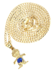 10K Yellow Gold Cuban Chain & Cz Children Pendant | Appx. 3.8 Grams chain & pendant FROST NYC